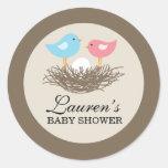 Baby Bird's Nest Baby Shower Round Stickers