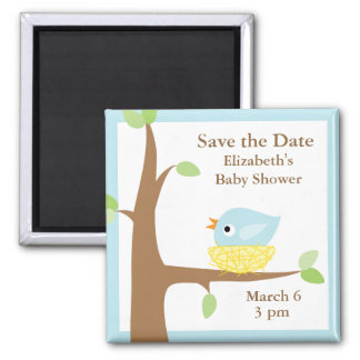 Baby Bird's Nest (blue) 2 Inch Square Magnet