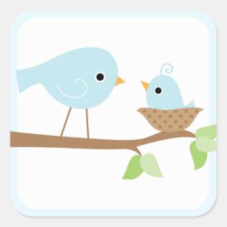 Baby Bird's Nest (blue) Square Sticker