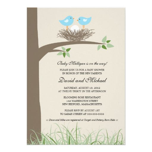Baby bird39s nest gay couple baby shower 5quot x 7 for Gay wedding shower invitations