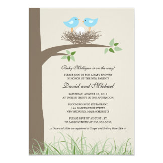 Baby Bird's Nest - Gay Couple Baby Shower 5x7 Paper Invitation Card