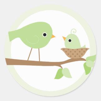 Baby Bird's Nest (green) Classic Round Sticker