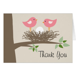 Baby Bird's Nest Lesbian Couple | Thank You Card