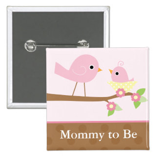 Baby Bird's Nest (pink) 2 Inch Square Button