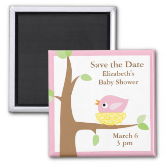 Baby Bird's Nest (pink) 2 Inch Square Magnet