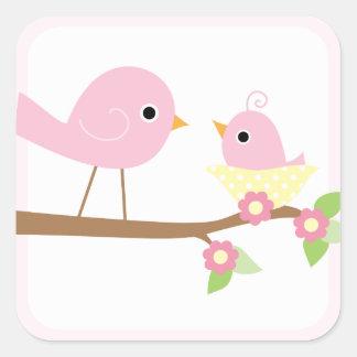 Baby Bird's Nest (pink) Square Sticker
