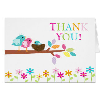 Baby Birds Nest Thank You Note Card