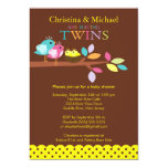 "Baby Birds Nest Twins Baby Shower Invitations 5"" X 7"" Invitation Card"
