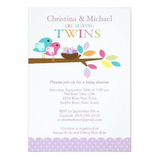 baby birds nest twins baby shower invitations zazzle