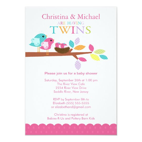Baby Birds Nest Twins Baby Shower Invitations
