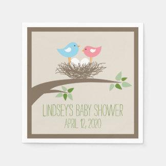 Baby Bird's Nest   Twins Baby Shower Paper Napkin