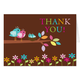 Baby Birds Nest Twins Thank You Note Card