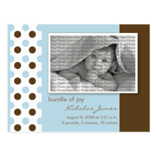 Baby Birth Announcement Baby Blue Polka Dots Postcards