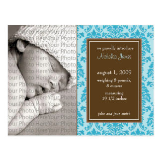 Baby Birth Announcement Baroque Vintage Blue Postcards