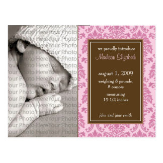 Baby Birth Announcement Baroque Vintage Pink Post Card