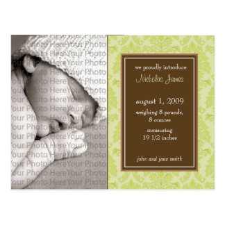 Baby Birth Announcement Baroque Vintage Seagrass Postcard