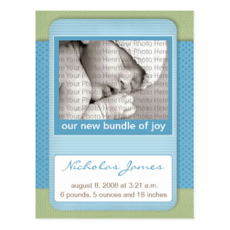 Baby Birth Announcement Blue Polka Dots Post Card