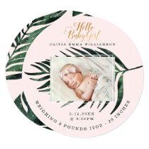 Baby Birth Announcement Card | Tropical Palm Leaf