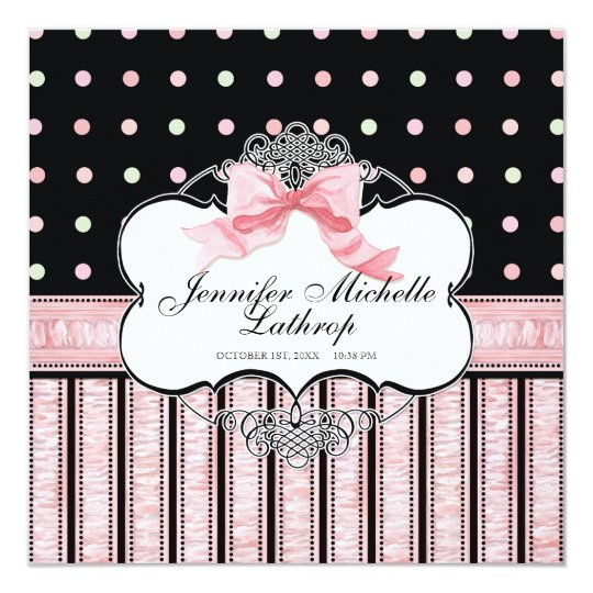 Baby Birth Announcement - French Bow Dot Swirl v3