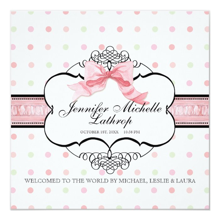 Baby Birth Announcement - French Bow Dot Swirl vs2