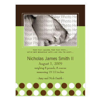 Baby Birth Announcement Green with Chocolate Dots Postcards