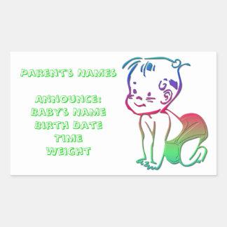 Baby (Birth Announcement / Keepsakes) Rectangular Sticker