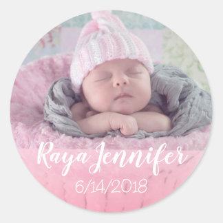 Baby Birth Announcement Personalized Photo Sticker