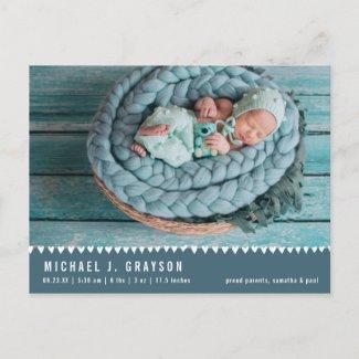Baby Birth Announcement Photo Postcard