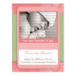 Baby Birth Announcement Pink Polka Dots Postcard