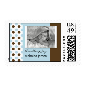 Baby Birth Announcement Postage Blue Polka Dots