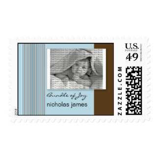 Baby Birth Announcement Postage Blue Stripes