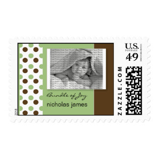 Baby Birth Announcement Postage Green Polka Dot
