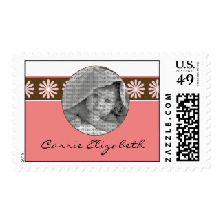 Baby Birth Announcement Postage Pink Flowers