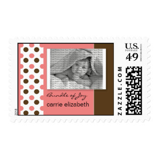 Baby Birth Announcement Postage Pink Polka Dot