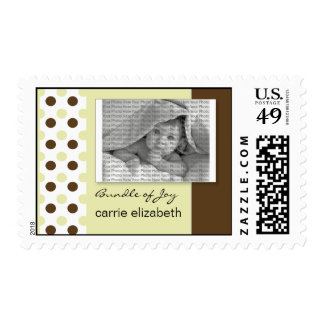 Baby Birth Announcement Postage Seagrass Polka Dot