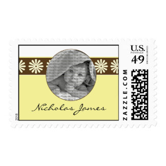 Baby Birth Announcement Postage Yellow Flowers