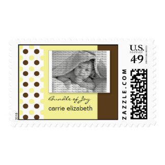 Baby Birth Announcement Postage Yellow Polka Dot