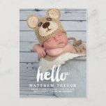Baby Birth Announcement Postcard | Hello