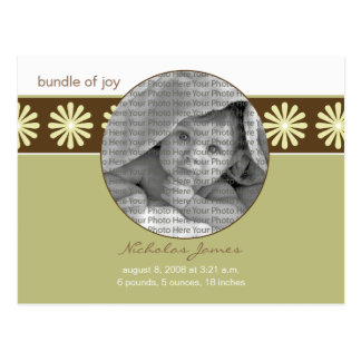Baby Birth Announcement Seagrass Flowers Postcard