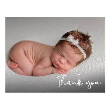 Baby Birth Announcement Thank You White Script Postcard