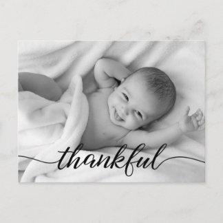 Baby Birth Announcement, Thankful, custom photo Announcement Postcard