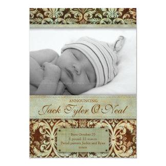 Baby Birth Announcement Vintage Brown Green