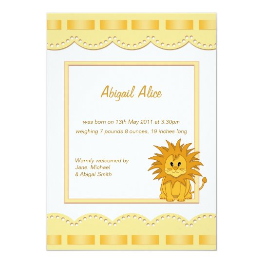 Baby Birth Announcement with Cartoon Lion Cub