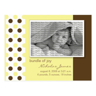 Baby Birth Announcement Yellow Polka Dots Postcard