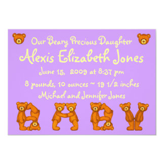 Baby Birth Announcements~Beary Precious Daughter Card