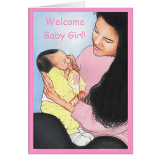 Baby Birth Announcements~Proud Dad~Girl~Ethnic Card