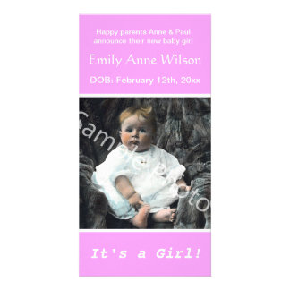 baby birth photo pink announcement. add you photo card