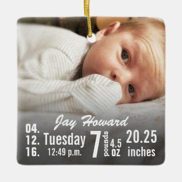Christmas Themed Baby Birth Stats Birth Record Christmas Photo Ceramic Ornament
