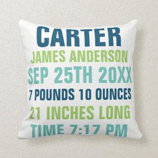 Baby Birth Stats custom Pillow