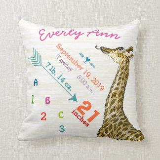 Baby Birth Stats Cute Giraffe Heart and Arrow Throw Pillow